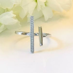 Open Double Bar Clear CZ Sterling Silver Ring